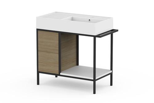 Vanity Antonio Floor Mount 800mm X 440mm R/H Bwl [166332]