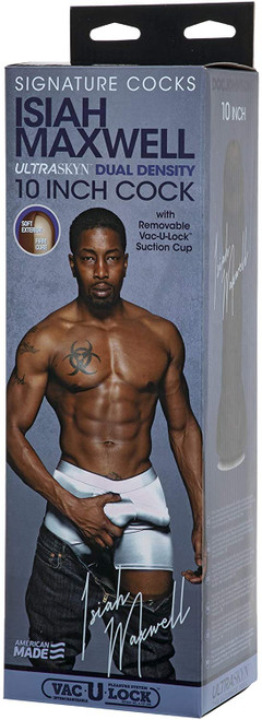 Signature Cocks Isiah Maxwell 10 Inch ULTRASKYN Cock with Removable Vac-U-Lock Suction Cup Chocolate
