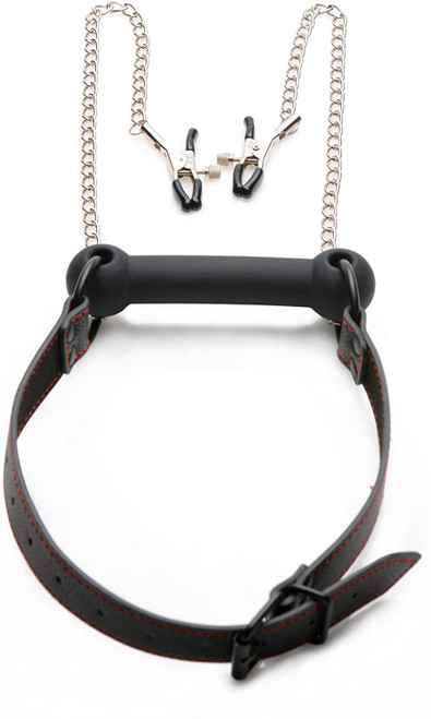 Strict Black Silicone Bit Gag With Nipple Clamps