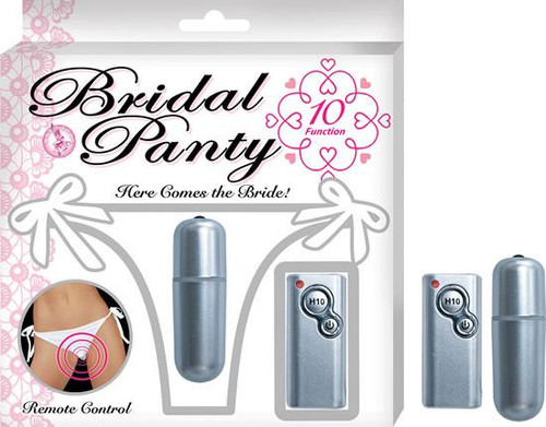Bridal Panty Vibrating With Remote 10 Function Bullet Waterproof White