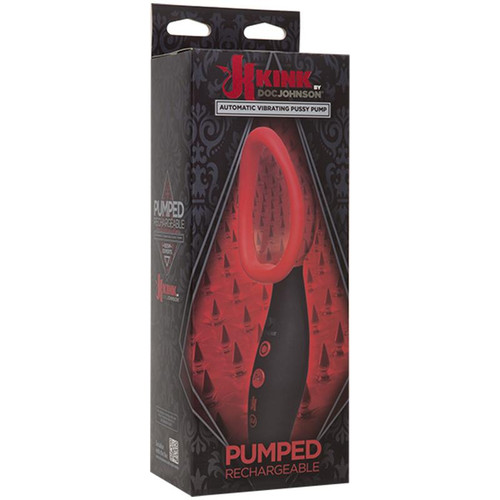 Kink - Pumped - Rechargeable Vibrating Sucking Vagina Pump Black/Red