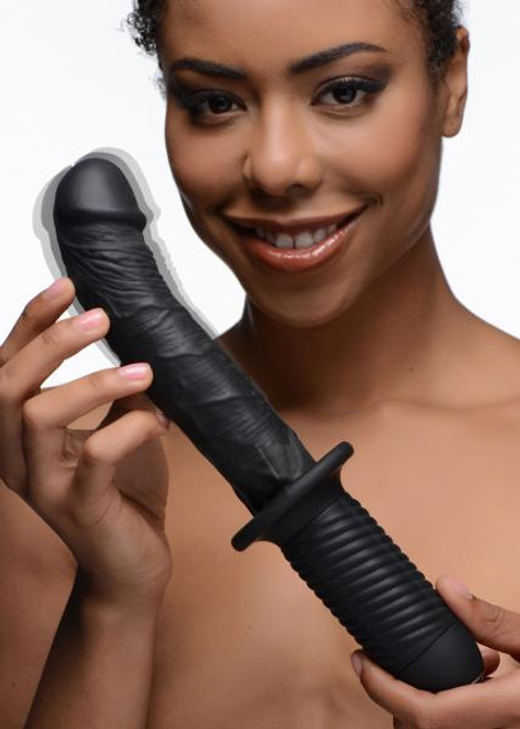 This buzzing boner thruster features a curved shaft to hit the spot, as well as a bulging head and veins to massage your tunnel! Grab hold of the textured hilt and plunge this silky smooth, silicone dildo into your hole to experience 10 powerful vibration settings.
