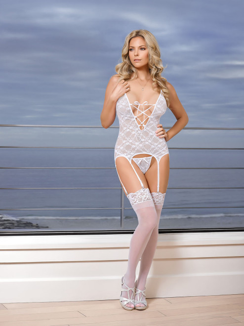 Pure Bliss Merry Widow & G-String Set - White