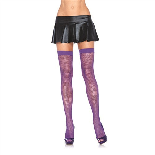Fishnet Thigh Highs - One Size - Purple
