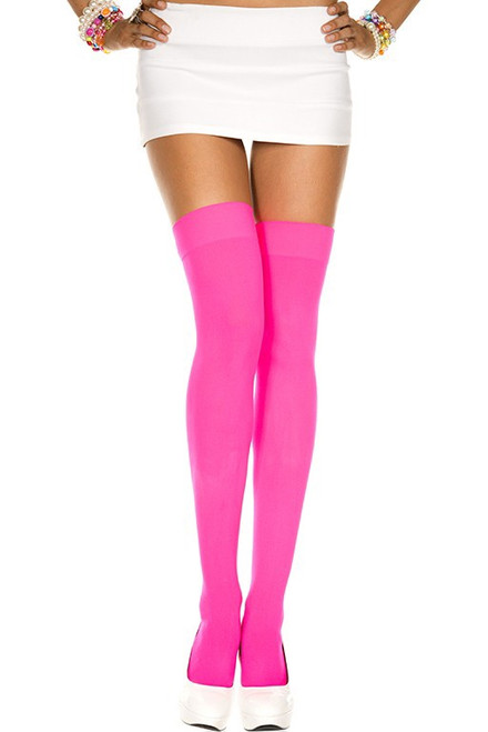 Opaque Thigh Hi - One Size - Hot Pink