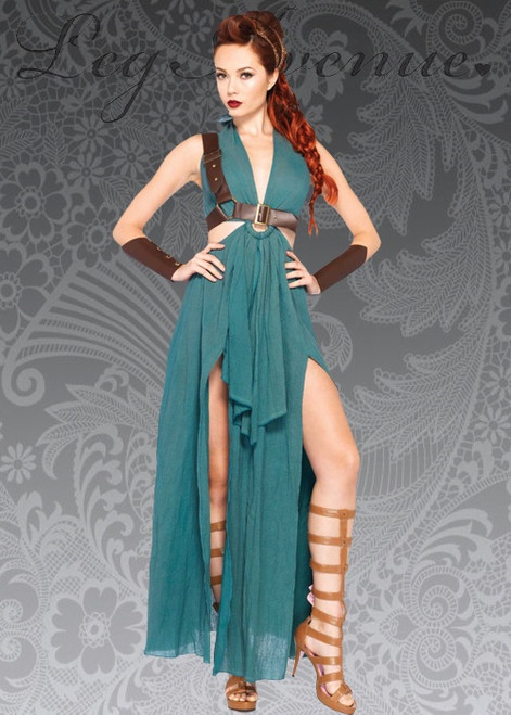 Green warrior maiden costume set Made of 100 percent cotton material Includes sexy cotton halter dress, shoulder harness, headband and matching arm cuffs Dress has a high slit through which to see his legs Suitable feast for a role or theme