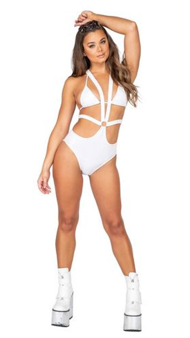 1pc Iridescent Strappy Romper with O Ring
