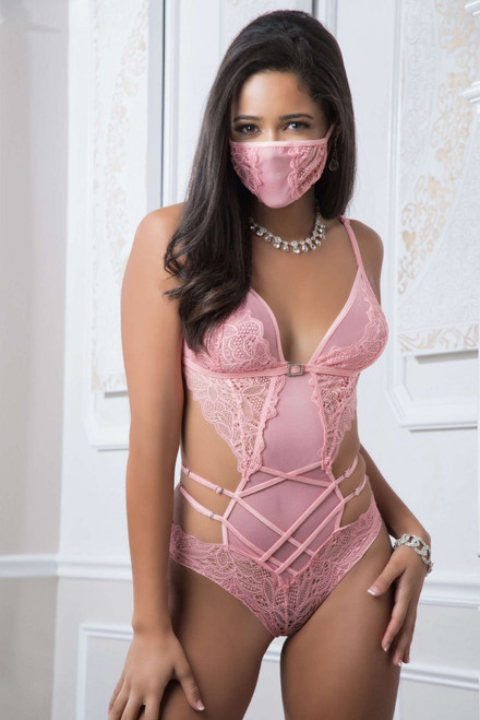 B2050 - 2pc Mask up Lacy Teddy