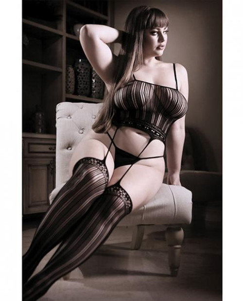 Sheer Fantasy Striped Cami Top W/ Attached Stockings - Black Qn