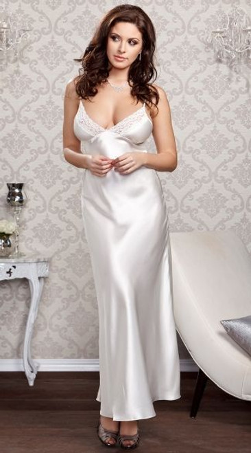iCollection Long Satin Gown with Lace Trim