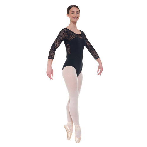 Elegance Collection 3/4 Length Sleeved Leotard with Sweetheart Neckline Black