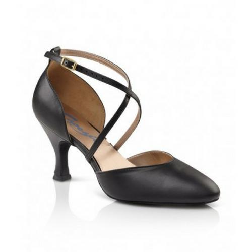"Capezio X-Strap Pump Shoe Black With 2.5"" Heel"