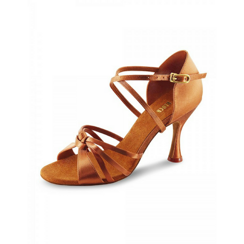 "Bloch Davina Satin Latin Shoe With 3"" Round Heel In Dark Tan"