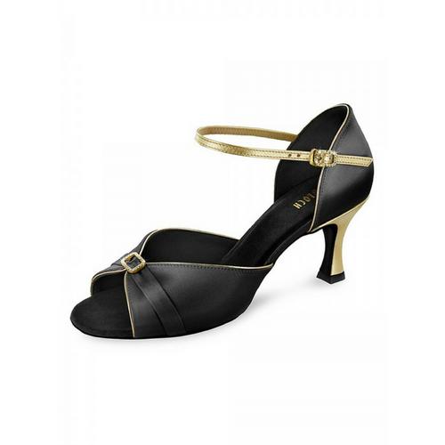 "Bloch Lelah I Satin Latin Shoe With 2.3"" Flared Heel In Black"