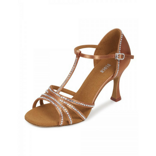"Bloch Guilia Satin Latin Shoe With 2.75"" Flared Heel In Dark Tan"