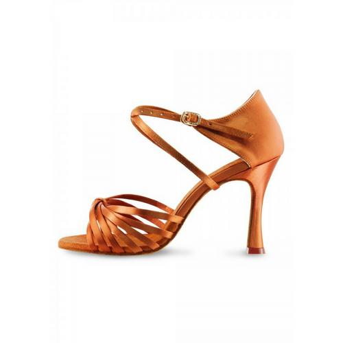 "Bloch Vitoria Satin Latin Shoe With 2.75"" Flared Heel In Dark Tan"