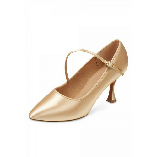 "Bloch Charisse Saitin Ballroom Shoe With 2.75"" Plume Heel In Tan"