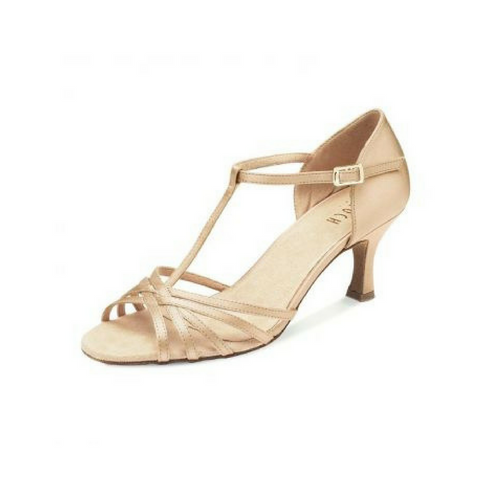 "Bloch Nicola Leather Ballroom Shoe With 2.5"" Flare Heel In Natural"