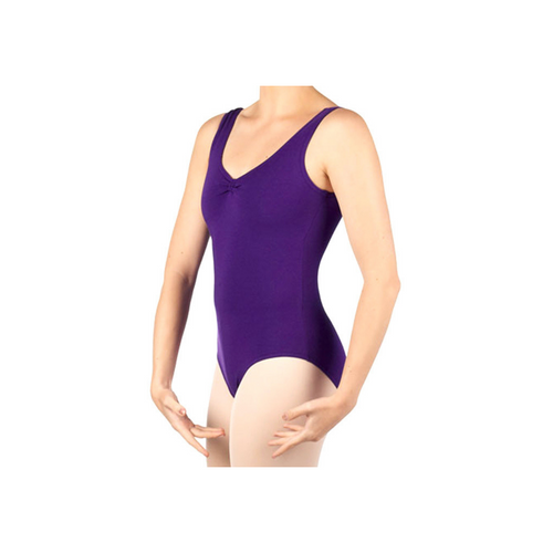 Dance First Bethany Sleeveless Purple Cotton Leotard With Ribbon Ruche Front