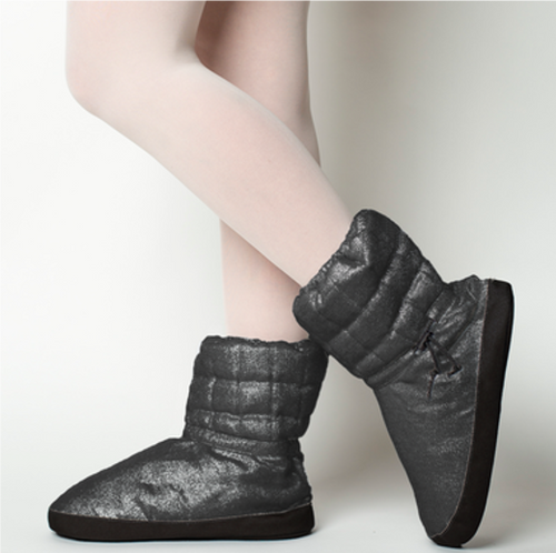 Russian Pointe Black Quilted Warmup Booties  – Sparkling Collection