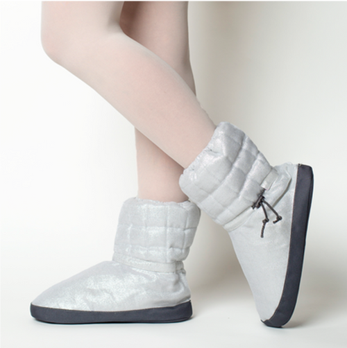 Russian Pointe Silver Quilted Warmup Booties  – Sparkling Collection