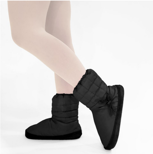 Russian Pointe Black Quilted Warmup Booties