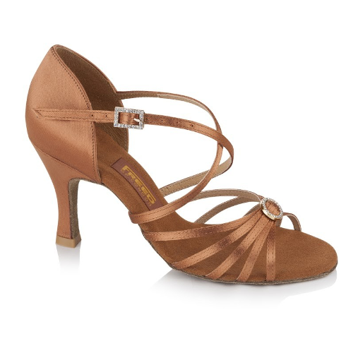 """Freed Sophia Latin Shoe With 2"""" Flare Heel in Dark Tan"""