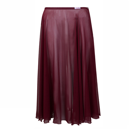 Dance First Burgundy Long Circular Chiffon Skirt