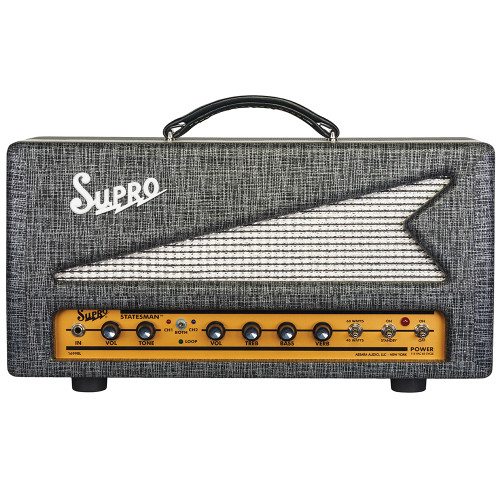 <p>SUPRO STATESMAN 50W TUBE AMPLIFIER HEAD - 240V</p> <p><span>The 1699R Statesman is a two-channel, 50W amplifier that unites vintage Supro tone with modern channel switching functionality, tube-driven reverb and a multi-purpose, all-tube effects loop.</span><br /><br /><span>The red channel found in the Statesman uses the two-knob preamp from the legendary Supro Thunderbolt amplifier for high-headroom rock &amp; roll power. The Statesman&rsquo;s blue channel contains the high-gain preamp, 2-band EQ and all-tube reverb section of our acclaimed Comet model. The Statesman provides A/B/Both channel switching operation, allowing the two channels to be run in parallel, creating a massive, dual-preamp sound where each channel contributes part of the overall texture.</span><br /><br /><span>In addition to the tube-driven spring reverb, the Statesman&rsquo;s blue channel contains an all-tube, switchable effects loop that provides a set of useful functions&mdash;including &ldquo;wet only&rdquo; reverb effects, which can be independently dialed in and blended with the dry sound from the red channel. The variable send and return levels allow the effects loop to function as a level and/or gain boost when engaged, even when nothing is plugged into the loop. The effects loop can also act as a master volume for the blue channel when bedroom levels are desired. As a final touch, both the effects loop and the reverb on the Statesman feature a relay-controlled &ldquo;spill-over&rdquo; effect, allowing reverb and delay trails to decay naturally when switching between channels.</span><br /><br /><span>The 50-watt power amp in the Statesman is switchable between Class A and Class AB operation. The Class-A (cathode bias) setting provides the distinctive midrange growl that has been the cornerstone of the Supro sound since the company was founded in 1935. The Class AB (grid bias) configuration presents less compression along with additional headroom, more punch and faster attack. The Statesman comes loaded with military-grade Sovtek power tubes that are precision-matched at the Supro factory in Port Jefferson, NY.</span><br /><br /><span>The Supro Statesman is available in a 1x12 combo format or as a compact head, covered in black rhino hide tolex and sized to sit perfectly atop the 1x12 and 1x15 Black Magick speaker cabinets, as well as the new, 2x12 Statesman speaker cabinet. Designed by Thomas Elliott, this all-tube masterpiece is equipped with 16-ohm, 8-ohm, and 4-ohm speaker outputs with enough power to drive up to four 2x12 cabs simultaneously for a look and sound worthy of the biggest stadiums and arena stages.</span><br /><br /><span>&bull; Thunderbolt preamp (red channel)</span><br /><span>&bull; Comet preamp (blue channel)</span><br /><span>&bull; A/B/Both channel switching</span><br /><span>&bull; Switchable tube-driven spring reverb</span><br /><span>&bull; Switchable tube-driven effects loop</span><br /><span>&bull; Effects loop can function as a Boost</span><br /><span>&bull; Wet-only reverb effects available</span><br /><span>&bull; 50 Watts, switchable Class A or AB</span><br /><span>&bull; 2x 6L6WGC / 5881 tube power amp</span><br /><span>&bull; Channel selector footswitch and 20&rsquo; TRS cable included</span><br /><span>&bull; Black rhino hide tolex with gold faceplate</span></p>