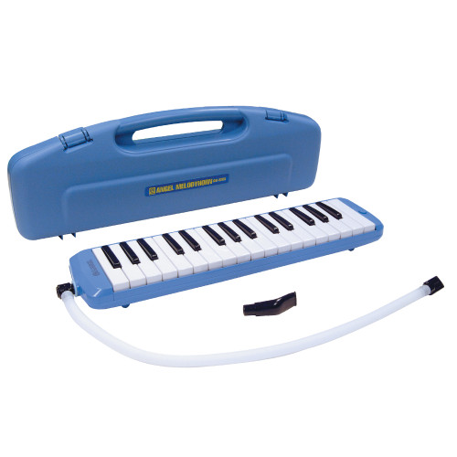 "Size: 42.5 x 10 x 5cm. Weight: 554g. Carry Case. <br>Angel Melodyhorn blow keyboards are ideal instruments for school use, solo playing or ensemble work. They are an inexpensive way to teach children the basics of keyboard playing and being non-electrical can be used in any environment. Robustly manufactured, the instruments can be played in ""recorder"" style or on a desk/table top."