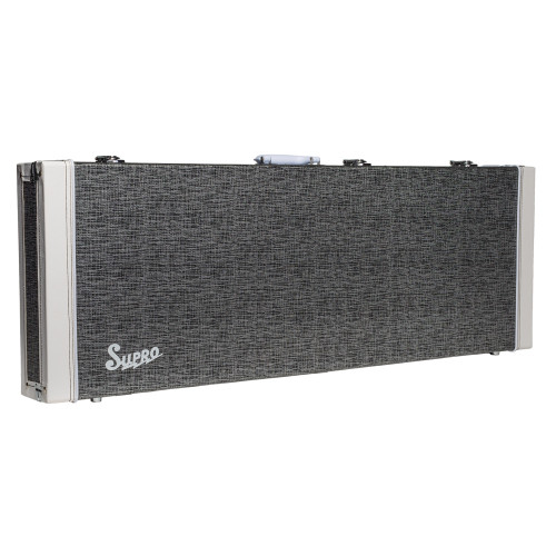<p>SUPRO ISLAND SERIES GUITAR CASE</p> <p><span>Rectangular hardshell case covered in black rhino tolex with retro piping on case ends. White carry handle. Plush lined interior with twin accessory compartment. Chrome catches and feet.</span><br /><br /><span>Suitable for ALL Supro Island guitars:</span><br /><span>&bull; Jamesport</span><br /><span>&bull; Westbury</span><br /><span>&bull; Hampton</span></p>