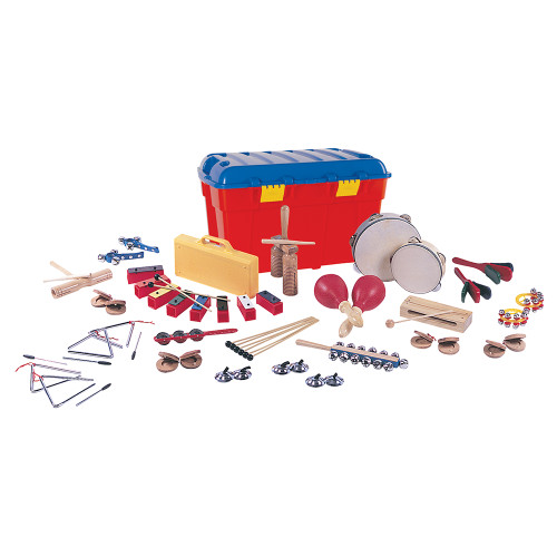 <p>In stock and ready to ship at MorMusic</p><p>Seen it cheaper elsewhere? We'll aim to match or beat any like for like price!</p>Packed full of brightly coloured, exciting percussion instruments, children canåÕt wait to begin to participate in music making with this PP World set. KS1 instruments have been specially selected to give young children the opportunity to perform simple rhythms and melodic patterns by ear and from symbols åÐ and to keep the all-important fun factor high on the agenda!<br><br>Consists of<br><div>2 pair&nbsp;Finger cymbals</div><div>1 8 note chime bar set</div><div>6 Extra chime bar beaters</div><div>1 15cm tambourine</div><div>1 20cm tambourine</div><div>1 Woodblock &amp; beater</div><div>2 Finger castanets</div><div>2 Handled castanets</div><div>1 Stick handbell</div><div>2 Cluster bells</div><div>2 10cm triangles</div><div>2 15cm triangles</div><div>1 Agogo &amp; beater</div><div>1 pair Maracas</div><div>1 Jingle stick</div><div>1 Sleighbells</div><div>1 Two-tone block</div><div>1 Plastic storage chest</div>