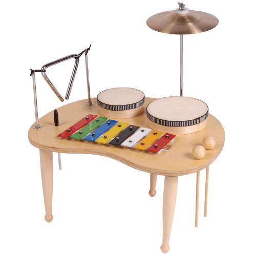 <p>In stock and ready to ship at MorMusic</p><p>Seen it cheaper elsewhere? We'll aim to match or beat any like for like price!</p>Junior easy-access low-level fun laminated wood music table mounted on three åÔdrumstickåÕ-style legs. Features glockenspiel with 8 multi-colour tuned metal bars laid out in C major scale format, plus two beaters; suspended triangle with beater; two removable junior congas, 10cm and 12.5cm dia; 14.5cm dia splash cymbal on raised support arm.<br><br><div>Table height approx 20cm, table 41cm (w) x 33 cm (approx).</div>
