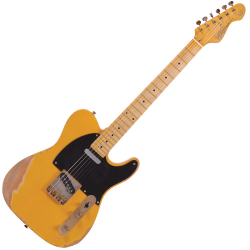 "<p>&nbsp;</p> <p><span style=""font-family: arial; font-size: small;"">The V52 guitar offers a playing experience in this style of guitar that nudges the enjoyment factor well up to the upper end of the scale. The Vintage V52 gives the guitarist a taste of the early days of this guitar style's 1950's beginnings in country, rockabilly and fledgling rock and roll with its mellow butterscotch finish over an alder body along with a one-piece bolt-on maple neck. As always with the Vintage range, guitar design ubermeister Trev Wilkinson has overseen production, ensuring that the performance of the pickups on these guitars is more than capable of matching the good looks. As such, all V52 pickups are alnico-powered for maximum tone 'n' twang, alongside the conventional T-type horizontal 3-way pickup selector on the control plate.&nbsp;<br /><br />Many guitarists have become huge fans of the the Vintage Icon range of pre-distressed electric guitars, now available in many of the best-known guitar styles. Undoubtedly you'll be more than eager to snap up the competitively-priced Icon versions of these exciting new guitars, the V52MRBS with its cool-looking wear-worn body, neck and fretboard, plus the age-distressed hardware...feels good! One more thing &ndash; being the detail freak that he is, Trev Wilkinson can't quite leave it at that. So there's the period-correct single ply distressed black scratchplate on the V52 and V52 Icon, but even better is the up-specced Wilkinson WVOB bridge pickup with its flat-level alnico polepieces surrounded by Trev's custom wound construction, giving even more of that lovely dry trademark 50's 'bite' in the V52 Icon's dynamic twang!&nbsp;<br /><br /><span>Features:</span></span></p> <ul> <li>Body: Alder</li> <li>Neck: One-piece hard maple, bolt-on</li> <li>Fingerboard: Maple</li> <li>Neck Inlays: Black dot</li> <li>Tuners: Wilkinson&reg; Deluxe WJ55S</li> <li>Bridge: Wilkinson&reg; WTB intonatable</li> <li>Pickups: Wilkinson&reg; single coil x 2 (N) MWTN (B) MWTB</li> <li>Controls: 1 Volume/ 1 Tone/ 3-Way Lever</li> <li>Scratchplate: Black single ply</li> <li>Hardware: Nickel distressed</li> <li>Finish: Butterscotch distressed<br /><br /><span>Specifications:</span></li> <li>Scale: 25.5"" / 648mm</li> </ul> <ul> <li><span style=""font-family: arial; font-size: small;"">Frets: 22 Medium</span></li> </ul>"