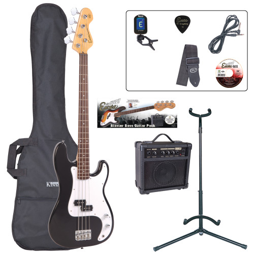"""<p>In stock and ready to ship at MorMusic</p><p>Seen it cheaper elsewhere? We'll aim to match or beat any like for like price!</p><p>The ideal entry to bass playing, with rock solid bass performance, precise tone and superb playing dynamics. Couple to an 'easy-to-get-on-with' feel and first-class instrument balance for a full-size, long scale instrument the E4 bass guitars are your direct access straight into the world of full-on bass playing.</p> <p><strong>Outfit Inludes: <br /></strong>Encore E20 Bass Guitar<br />Kinsman 10 Watt Bass Amp<br />Tuner, Carry Bag<br />Guitar Stand<br /><span style=""""line-height: 22.005px;"""">L</span>ead<br />Strap<br />Tutorial DVD and Plectrum</p>"""
