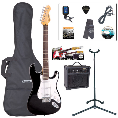 <p>The Encore E6 'Play Now' Blaster Pack is the UK's best first electric guitar starter pack money can buy! The Encore E6 is much more than the sum of its parts; if this IS your first electric guitar, you are gonna enjoy it like no other.</p> <p><b>Contents</b></p> <li>Encore E6 Electric Guitar</li> <li>Kinsman 10 Watt Guitar Amp</li> <li>Guitar Tech Tuner</li> <li>Kinsman Carry Bag</li> <li>Kinsman Guitar Stand</li> <li>Kinsman Guitar Lead</li> <li>Guitar Tech Guitar Strap</li> <li>Encore Tutorial DVD</li> <li>Spare Set of Strings</li> <li>Plectrum</li> <li>Tutor Listing</li>
