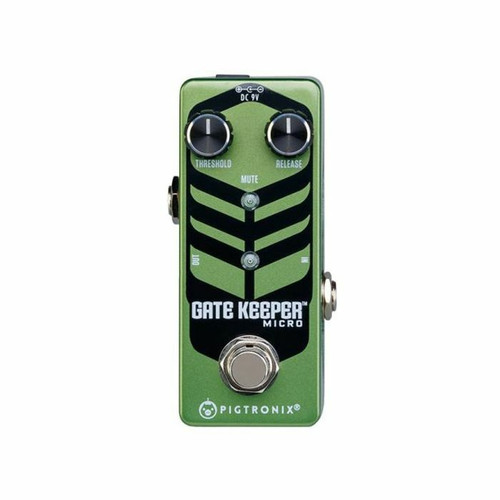 "<p>In stock and ready to ship at MorMusic</p><p>Seen it cheaper elsewhere? We'll aim to match or beat any like for like price!</p><p><span>Pigtronix Gatekeeper Micro is a lightning fast, studio quality noise gate pedal that locks out all unwanted noise from any rig. Sporting threshold and release time knobs, the Gatekeeper Micro provides 100% attenuation with unprecedented response time, making it the most useful and effective noise gate pedal on the market.</span><br /><br /><span>Gatekeeper Micro utilizes ultra-high speed J-FET circuitry to completely eliminate hum, hiss, buzz and any other non-musical sounds from your signal path. The wide range threshold control combines with superior headroom to deliver smooth transient response and warp speed time constants previously available only in rackmount, studio oriented noise gate processors. These extreme performance characteristics allow for musical gating even under the most punishing demands of high-speed metal. ‰Û¬‰Û¬The addition of the release time knob allows the user to control how long it takes gate to slam closed. Mercilessly cutting out any and all sounds you don&rsquo;t want to hear at the very instant you stop playing, the Gatekeeper Micro will allow players to crank up the volume without fear of hearing the annoying 60-cycle hum or white noise that plagues most high gain rigs.</span><br /><br /><br /><span>‰Ð» 100% attenuation when gated</span><br /><span>‰Ð» Wide range threshold control</span><br /><span>‰Ð» Variable release time</span><br /><span>‰Ð» High-Speed performance</span><br /><span>‰Ð» True Bypass</span><br /><span>‰Ð» Size = 3.75"" x 1.5"" x 1.75""</span><br /><span>‰Ð» Sound design by David Koltai</span></p>"