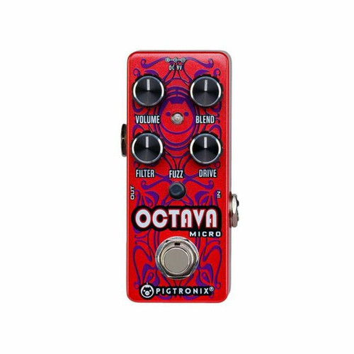 """<p><span>Pigtronix Octava Micro is an expanded version of the octave up found in the original Pigtronix Disnortion pedal. This all-analog frequency doubler has an on-board low pass filter control that allows you to achieve singing octave up tones, anywhere on the neck, without adjusting your guitar&rsquo;s tone control. Stable intervals such as octaves, 4ths and power chords result in gnarly, tweezed out grind, while other intervals create ring- modulator textures in all registers.&nbsp;</span><br /><span>Drive, Blend and Fuzz controls have been added to the original 2-knob design for added signal power and overall flexibility. A variable Drive circuit on the front end allows the musician to tailor the harmonic response of the of the octave circuitry to suit any set of pickups. The octave up is wired in series before a fuzz circuit that can be activated by a push button switch, allowing this micro pedal to produce the devastating, full-wave rectified distortion found in the original, large-format unit. The entire drive, octave, fuzz effect can then be mixed with the original clean signal using the Blend control to taste.&nbsp;</span><br /><br /><span>Features</span><br /><span>▪ Analog Octave Up</span><br /><span>▪ Variable Low Pass Filter</span><br /><span>▪ Variable Front-end Drive</span><br /><span>▪ Switchable High-Gain Fuzz</span><br /><span>▪ Master Blend&nbsp;</span><br /><span>▪ True Bypass</span><br /><span>▪ Size = 3.75"""" x 1.5"""" x 1.75""""</span><br /><span>▪ Sound design by Thomas Elliott</span></p>"""