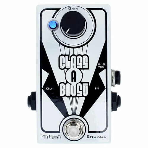 """<p><span>The Pigtronix Class A Boost will fatten up and boost anything you feed it. This deceptively simple design uses discreet J-FET transistors in a single-ended &ldquo;Class A&rdquo; configuration to achieve the warmest possible tone. The Class A Boost can deliver up to 20db of clean boost and remains effective with both instrument and line level signals.</span><br /><span>Superior signal to noise performance allows you to put the Class A Boost anywhere in your pedal chain. It can add punch and extra output to a classic overdrive sound and is able to push distortion pedals into extremely aggressive crunch land. Class A Boost is also ideal for hitting the front end of a tube amp to achieve an added layer of sweetness and fat tone.</span><br /><br /><span>FEATURES:</span><br /><br /><span>▪ Discrete &ldquo;Class A&rdquo; FET transistor audio path</span><br /><span>▪ Boosts Instrument or Line Level inputs</span><br /><span>▪ Up to 20db of CLEAN boost</span><br /><span>▪ 20Hz - 20KHz frequency response</span><br /><span>▪ Max output before clipping: 8.0V p-p</span><br /><span>▪ True Bypass</span><br /><span>▪ Voltage: 9-18V DC</span><br /><span>▪ Current Draw:&nbsp;2mA @ 18V</span><br /><span>▪ Size = 3.75"""" x 1.5"""" x 1.75""""</span><br /><span>▪ Sound design by David Koltai</span></p>"""