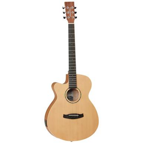 "<p>In stock and ready to ship at MorMusic</p><p>Seen it cheaper elsewhere? We'll aim to match or beat any like for like price!</p><ul> <li><span>SHAPE:</span>&nbsp;Left Handed Cutaway Super Folk</li> <li><span>TOP:</span>&nbsp;Cedar</li> <li><span>BACK:</span>&nbsp;Mahogany</li> <li><span>SIDES:</span>&nbsp;Mahogany</li> <li><span>NECK (MATERIAL):</span>&nbsp;Mahogany</li> <li><span>FINGERBOARD:</span>&nbsp;Eboncore</li> <li><span>BRIDGE:</span>&nbsp;Black Walnut</li> <li><span>BINDING (TOP):</span>&nbsp;ABS Black/White</li> <li><span>BINDING (SIDE):</span>&nbsp;N/A</li> <li><span>ROSETTE:</span>&nbsp;Green Abalone</li> <li><span>SADDLE:</span>&nbsp;ABS&nbsp;White</li> <li><span>NUT (WIDTH):</span>&nbsp;ABS White (43mm)</li> <li><span>SCALE LENGTH:</span>&nbsp;650mm</li> <li><span>BRIDGE PINS:</span>&nbsp;ABS Ivory&nbsp;with Black Dots</li> <li><span>MACHINE HEADS:</span>&nbsp;Chrome Die Cast</li> <li><span>FINISH:</span>&nbsp;Natural Satin</li> <li><span>EQ:</span>&nbsp;<a href=""http://www.tanglewoodguitars.co.uk/product/tanglewood-twex4/"">Tanglewood TW-EX4</a></li> <li><span>STRINGS:</span>&nbsp;Phosphor Bronze 12-53 Gauge</li> <li><span>SKU:</span>&nbsp;TWR2SFCELH</li> <li><span>RANGE:</span>&nbsp;Roadster II</li> <li><span>UPC:</span>&nbsp;819907020536</li> </ul> <p><span>Dimensions:</span></p> <ul> <li>UPPER BOUT WIDTH: 276mm</li> <li>LOWER BOUT WIDTH: 381mm</li> <li>WAIST WIDTH: 230mm</li> <li>BODY DEPTH (TOP): 92mm</li> <li>BODY DEPTH (BOTTOM): 102mm</li> <li>BODY LENGTH: 473mm</li> <li>TOTAL LENGTH: 984mm</li> </ul>"