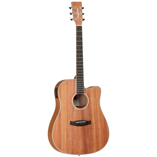 "<p>In stock and ready to ship at MorMusic</p><p>Seen it cheaper elsewhere? We'll aim to match or beat any like for like price!</p><ul> <li><span>SHAPE:</span>&nbsp;Dreadnought Cutaway</li> <li><span>TOP:</span>&nbsp;Solid Mahogany</li> <li><span>BACK:</span>&nbsp;Mahogany</li> <li><span>SIDES:</span>&nbsp;Mahogany</li> <li><span>NECK (MATERIAL):</span>&nbsp;Mahogany</li> <li><span>FINGERBOARD:</span>&nbsp;Eboncore</li> <li><span>BRIDGE:</span>&nbsp;Black Walnut</li> <li><span>BINDING (TOP):</span>&nbsp;ABS Black/White</li> <li><span>BINDING (SIDE):</span>&nbsp;Maple</li> <li><span>ROSETTE:</span>&nbsp;Maple</li> <li><span>SADDLE:</span>&nbsp;ABS Ivory</li> <li><span>NUT (WIDTH):</span>&nbsp;ABS White (43mm)</li> <li><span>SCALE LENGTH:</span>&nbsp;650mm</li> <li><span>BRIDGE PINS:</span>&nbsp;ABS Ivory&nbsp;with Black Dots</li> <li><span>MACHINE HEADS:</span>&nbsp;Chrome Die Cast</li> <li><span>FINISH:</span>&nbsp;Natural Satin</li> <li><span>EQ:</span>&nbsp;<a href=""http://www.tanglewoodguitars.co.uk/product/tanglewood-twex4/"">Tanglewood&nbsp;TW-EX4</a></li> <li><span>STRINGS:</span>&nbsp;Phosphor Bronze 12-53 Gauge</li> <li><span>SKU:</span>&nbsp;TWUDCE</li> <li><span>RANGE:</span>&nbsp;Union</li> <li><span>UPC:</span>&nbsp;819907020192</li> </ul> <p><span>Dimensions:</span></p> <ul> <li>UPPER BOUT WIDTH: 306mm</li> <li>LOWER BOUT WIDTH: 406mm</li> <li>WAIST WIDTH: 283mm</li> <li>BODY DEPTH (TOP): 101mm</li> <li>BODY DEPTH (BOTTOM): 121mm</li> <li>BODY LENGTH: 513mm</li> <li>TOTAL LENGTH: 1045mm</li> </ul>"