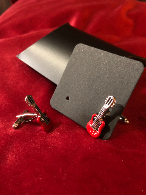 <p>In stock and ready to ship at MorMusic</p><p>Seen it cheaper elsewhere? We'll aim to match or beat any like for like price!</p><p>Rhodium plated guitar cufflinks with red enamel &amp; silver finish, supplied with gift box. FREE Shipping on this item.</p>