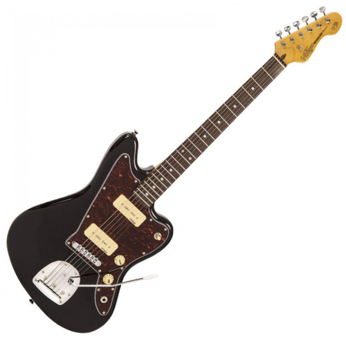 """<p>In stock and ready to ship at MorMusic</p><p>Seen it cheaper elsewhere? We'll aim to match or beat any like for like price!</p><p class=""""p1"""">Combining a pair of soapbar&nbsp;single coil pickups via a three way&nbsp;selector switch, the V65V is capable&nbsp;of shifting between jangly cleans&nbsp;and raking highs to drop tuned&nbsp;distorted riffs and pedal-powered&nbsp;walls of sound; what's more, the&nbsp;inclusion of a traditional, long-arm vibrato system allows for hypnotic&nbsp;pitch manipulation and mesmeric glides between chords.</p>"""