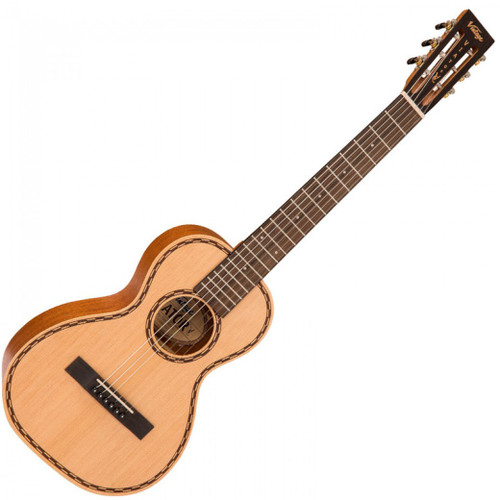 "<p>In stock and ready to ship at MorMusic</p><p>Seen it cheaper elsewhere? We'll aim to match or beat any like for like price!</p><p><span>Like all models in the Paul Brett Signature Viator Series of acoustic guitars, the new nylon strung Viator is once again themed on the small bodied Stella models from the 1920&rsquo;s and 30&rsquo;s. Skilfully designed again by Paul Brett himself, the exquisite nylon strung Viator, clearly expresses and highlights this English classic rock player&rsquo;s love and immense knowledge for early, small bodied, parlour style guitars.</span><br /><br /><span>Despite the smaller dimensions, this vibrant acoustic has size-defying volume with a tonewood combination that delivers exceptional resonance and natural sustain. The tone is warm and mellow, with an open midrange that can be sharp and crisp with a fruity liveliness in the upper register with notably loud harmonics.</span><br /><br /><span>Featured tonewoods include sapele for the back and sides, and Sitka spruce for the top where classic and traditional lines are captured with a laser-etched rosette and body purfling. The pin bridge also makes re-stringing simple.</span><br /><br /><span>An open headstock is in keeping with tradition where smooth-geared, open chrome tuners, ensure accurate tuning. Moving down, nato is the chosen wood for the custom V-profile neck joining the body at the 14th fret, whilst the fingerboard, with a generous 48.5mm width at the nut, offers ample room for fingers to flutter freely within chords, inversions, intricate solo passages and effortlessly operate hammer-ons, apoyando and tirando techniques.</span><br /><br /><span>The Paul Brett Signature nylon strung Viator, is a well made, bright sounding classical guitar, with a big sound and small price tag, perfect as a starter instrument or travel companion offering a range of features that will benefit classical players. The added sparkle also makes this fine acoustic guitar ideal for other contemporary styles and for electric and steel-strung guitarists making the move to classical.</span><br /><br /><span>The Paul Brett Signature nylon strung Viator guitar, comes complete with a Vintage branded carry bag,</span></p> <p>&nbsp;</p> <p><span>&lt;iframe width=""446"" height=""250"" src=""https://www.youtube.com/embed/Edg_AHibYxE"" frameborder=""0"" allow=""accelerometer; autoplay; encrypted-media; gyroscope; picture-in-picture"" allowfullscreen&gt;&lt;/iframe&gt;</span></p>"