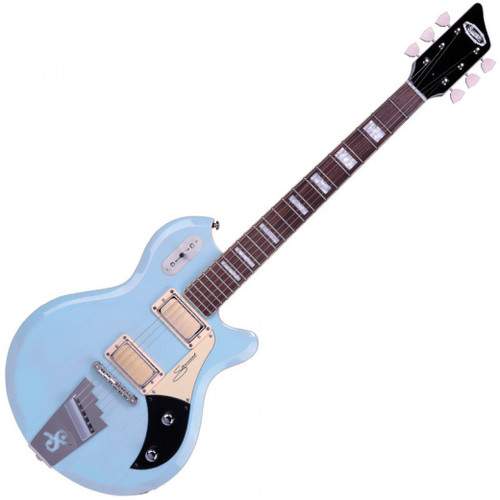 """<p>In stock and ready to ship at MorMusic</p> <p>Seen it cheaper elsewhere? We'll aim to match or beat any like for like price!</p> <p><span>The Supro Silverwood is a high-performance recreation of the instrument referred to as &ldquo;Supro&rsquo;s Finest Electric&rdquo; when it was introduced in the 1960 catalog. In keeping with the flagship mentality embodied in the original model, the new Silverwood is constructed with select tone woods, ergonomic body contours and premium hardware. The 2019 Supro Silverwood is offered with a choice of transparent finishes over a mahogany or ash body with a glued-in, set-neck joint for superior stability and easy access to the upper frets. The 24 &frac34;&rdquo;-scale maple neck has a smooth black satin finish on the back and Pau Ferro fretboard on top, with matching headstock, body and neck binding for maximum player comfort. The Silverwood&rsquo;s authentic Supro Gold Foil pickups provide high-output, broadband, single-coil tone with extremely low noise&mdash;offering up a sonic palette that covers a wide range of rock, blues, funk and R&amp;B styles.</span><br /><br /><span>Originally referred to as &ldquo;Clear Tone&rdquo; pickups when they were introduced by Supro in the mid 50s, the Gold Foil pickups found in the Silverwood guitar deliver hi-fidelity articulation at all frequencies, letting the character of the wood and the musician&rsquo;s hands shine through. 50&rsquo;s wiring on the Volume and Tone controls allow the player to use the volume knob without losing the top-end sparkle of the pickups, even when playing quietly. Every element of the Silverwood guitar has been carefully considered and selected to achieve world-class performance, while retaining the vibe of the mid-century American classic that set the standard for Supro electric guitars.</span></p> <table id=""""product-attribute-specs-table"""" class=""""data-table""""> <tbody> <tr class=""""first odd""""><th class=""""label"""">Colour</th> <td class=""""data last"""">Daphne Blue / Natural"""