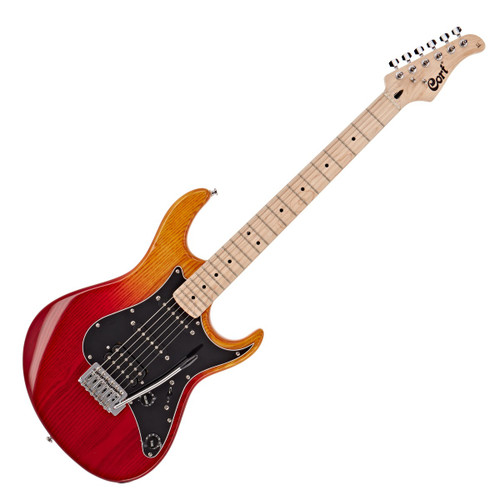 """<p>In stock and ready to ship at MorMusic</p> <p>Seen it cheaper elsewhere? We'll aim to match or beat any like for like price!</p> <ul class=""""list""""> <li>The perfect blend of classic and new guitar technology</li> <li>Dynamic and powerful sound from single coils and humbucker</li> <li>Enhanced playability thanks to maple neck and fingerboard</li> <li>Experience great performance at an affordable price</li> </ul> <p><span>Find your feet. The Cort G200 Deluxe guitar will help you play the way you've always wanted. Containing tonnes of character and offering a smooth playing experience, you'll be able to write killer songs on this riff machine. From the combination of a humbucker and single-coil pickups to the smooth maple neck and fingerboard - it'll get you excited to play guitar. It's got the charm and character of a classic electric guitar with the features of a modern model.</span></p> <h3>Pure tone</h3> <p>Change it up. With three pickups to choose from, you'll be able to access multiple different tones. The Powersound humbucker in the bridge offers the classic, high output, powerful voicing which you would expect from such a pickup. The Powersound single coils in the neck and middle positions offer a smooth but bright sound, which is both well balanced and highly articulate. Through these pickups, your riffs will have a unique and resounding tone.</p> <h3>Maple on maple</h3> <p>Play your way. With a Canadian hardmaple neck and a maple fingerboard in your hands, you'll be able to fire through riffs. They both create a bright, punchy resonance which emphasises the midrange of your notes, so everything you play will sound bright and prominent. With a bevelled heel, you'll also enjoy super easy access to the upper frets &ndash; perfect for soloing. Let nothing stand in your way to perfect playing.</p> <h3>Tremolo action</h3> <p>Do you like vibrato? Then you'll love the 6-point tremolo bridge on this guitar. With it, you can bend your notes using the whammy bar, help"""