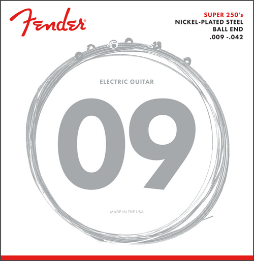 <p>In stock and ready to ship at MorMusic</p><p>Seen it cheaper elsewhere? We'll aim to match or beat any like for like price!</p><p><span>Fender Super 250's strings combine the high output and dynamic sound of steel with the smooth feel of nickel. These versatile ball-end string sets are ideal for any type of music, but particularly rock, blues and other styles with cutting, articulate tone.</span></p>