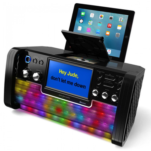 <p>In stock and ready to ship at MorMusic</p><p>Seen it cheaper elsewhere? We'll aim to match or beat any like for like price!</p><p><span>BLUETOOTH KARAOKE MACHINE</span><br /><span>with light Effects</span><br /><br /><span>Features:</span><br /><span>&bull; Built-in Bluetooth receiver.</span><br /><span>&bull; 7&rdquo; (16:9) TFT colour screen.</span><br /><span>&bull; Top load CD+G player</span><br /><span>&bull; Microphone volume control</span><br /><span>&bull; Echo control</span><br /><span>&bull; Balance control</span><br /><span>&bull; Auto voice control</span><br /><span>&bull; Smartphone/Tablet holder</span><br /><span>&bull; USB input</span><br /><span>&bull; Line-in jack</span><br /><span>&bull; Two microphone jacks</span></p>