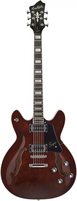 "<p>In stock and ready to ship at MorMusic</p> <p>Seen it cheaper elsewhere? We'll aim to match or beat any like for like price!</p> <p><span>The new Hagstrom &ldquo;Artist Project&rdquo; series is a unique line of instruments that have been specially created in unison with a chosen few of our Hagstrom Artists.</span><br /><br /><span>Each instrument is a representation of the musician&rsquo;s creativity and specific demands, as each of these featured Artist&rsquo;s has been given free hands to uniquely customize each of their own ideal instruments to create a perfect tool of musical expression.</span></p> <p>In 2012 Justin York purchased a Hagstrom Viking to use on tour with Paramore, and the rest of the story is history. He has since become a true partner and friend to Hagstrom. When Paramore was preparing for extensive international touring to support their recent album, we began discussions about what an ideal set of touring guitars might be for him. After more than one year of collaboration, the result is a pair of Vikings that Hagstrom is proud to introduce to guitarists worldwide. As primary touring guitarist for Paramore, Justin&rsquo;s role is to provide the supporting foundation of the band&rsquo;s guitar sounds for each song. A band with a rich history like Paramore requires a broad range of guitar styles and textures. So, one of our main objectives was to create instruments with a broad tonal range easily accessible during a stage performance, a task Hagstrom is more than equal to.</p> <p>A rich and classic vibe. Justin wanted his Super Viking to exude a rich, classic vibe. We developed a warm, transparent brown finish which we applied to maple specially selected for an interesting and more prominent grain. The result is gorgeous, with the rich brown finish highlighting fascinating grain patterns, making each instrument visually unique. Vintage-style &ldquo;witch hat&rdquo; knobs, same as used on our RetroScape models, complete the vintage vibe this guitar oozes. The Super Viking&rsquo;s 25.5&rdquo; (648mm) scale length adds some extra snap and articulation to each note, and Justin requested our &ldquo;Ultra-Thin&rdquo; 17mm neck profile to match a vintage (c. 1965) Viking model in his Hagstrom collection. A Hagstrom Custom 58 humbucking pickup in the bridge position provides classic rock tones. Justin chose our &ldquo;P-Uri-fied&rdquo; P90 humbucker-sized pickup for the neck position which exhibits that classic warm, round sound; tonal magic happens when this pickup interacts with our custom tone control and the P90 ranges to an astonishingly clear and pristine single-coil clarity. Individual coil-split is available for the Custom 58 via the push/pull tone control, providing an even more expansive sonic palette.</p> <p>Finally, a useable tone control! The tone control is often a source of frustration for guitarists. This is because the design has historically been based on a passive treble-cut concept. The complete tonal spectrum is passed through the circuit when the control is fully open, and as it&rsquo;s dialled down treble frequencies are eliminated. Many guitarists find this approach unusable since the tone often becomes muddy and excessively &ldquo;dark&rdquo; as the treble component is eliminated. Working with Justin we have developed a tone control which does the exact opposite. Instead of filtering treble frequencies, we filter the bass as the control is cut. The full treble spectrum is always available, and the tone control performs a bass-cut function. Justin finds this is much more usable on stage, and we think all Hagstrom guitarists will too.</p> <ul> <li>Body Material: Ply Maple</li> <li>Top: Contoured</li> <li>Style: Semi-Hollow</li> <li>Neck Joint: Set</li> <li>Neck Material: Canadian Hard Maple</li> <li>Truss Rod: H-Expander&trade;</li> <li>Fingerboard/Nut Material: Resinator&trade;</li> <li>Radius: 15""</li> <li>Inlays: Pearl Block</li> <li>Frets: 22 Medium Jumbo</li> <li>Scale Length: 25.5"" (648 mm)</li> <li>Nut: GraphTech Black Tusq XL</li> <li>Nut Width: 43 mm</li> <li>1 x Hagstrom &lsquo;58 Custom Humbucker - Bridge Position</li> <li>1 x Hagstrom &ldquo;P-Urified&rdquo; P90 Humbucker - Neck Position</li> <li>3-way Toggle Switch Pickup Selector</li> <li>2 x Volume Control 2 x Tone Control with Push/Pull</li> <li>Bridge: Long Travel Tune-O-Matic with Hagstrom Trapeze Tail Piece</li> <li>Tuning Keys: Hagstrom Design 18:1</li> <li>Strings: D'Addario EXP 110 (10-46)</li> </ul>"