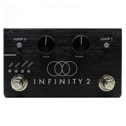 <p><span>Pigtronix Infinity 2 is a stereo looping pedal with two independent loops and a streamlined user interface that has been designed to provide an intuitive musical workflow, right out of the box.</span><br /><br /><span>The Infinity 2 enables musicians to seamlessly switch between parts, even during initial recording or while overdubbing. This Verse / Chorus type of workflow is further expanded by the ability to delete the loop that is not currently playing&mdash;freeing up an open slot for a new loop to be created, without interrupting playback.</span><br /><br /><span>Nearly all actions taken by the Infinity 2 occur at the loop boundary. This allows the musician to cue an overdub, switch between loops or stop precisely at the end of a loop, without having to worry about hitting the footswitch at precisely the correct time. Simply tell the machine what to do and it will occur at the end of the current loop. This is the general rule of thumb for all commands, with a few exceptions such as instant stop and fade out, which take place immediately when activated.</span><br /><br /><span>A small push-button switch, located above the left footswitch, allows the user to change the functionality of this footswitch to perform various Stop, Stutter and Octave Shift effects. A TRS remote jack allows these special features to be triggered by an external switch. Undo / Redo functionality can also be assigned to the left footswitch, allowing the musician to remove previous overdubs and add them back as desired.</span><br /><br /><span>In addition to a dedicated knob for loop Volume, the Infinity 2 also features a Decay knob that causes loop audio to fade out progressively during overdub. With the Decay knob set fully clockwise, the layers pile up at full volume. With the Decay knob set fully counter-clockwise, each overdub lasts for only one loop cycle. With the Decay knob set anywhere in-between those extremes, overdubbing on the Infinity 2 creates constantly evolving loop textures that can be instantly snapped back to a previous state using the Undo function.</span><br /><br /><span>The Infinity 2&rsquo;s full-range, high-headroom audio inputs will accept mono or stereo instruments as well as line-level signals. The dual outputs of the Infinity 2 can be routed for stereo output with pass-through and loop audio mixed together, or they can be configured for discrete Wet / Dry operation&mdash;where the loop audio is summed to one output, and pass-through audio is sent to the other.</span><br /><br /><span>Infinity 2 combines the high-fidelity audio and ultra-low-latency looping engine of the original award-winning Pigtronix Infinity Looper, with a much smaller form factor and a user interface specifically designed to make looping fun and musical for everyone.</span><br /><br /><span>Features:</span><br /><br /><span>Dual stereo loops</span><br /><span>Verse / Chorus</span><br /><span>Undo / Redo</span><br /><span>One Shot / Stutter</span><br /><span>Octave Up / Down</span><br /><span>Instant Stop</span><br /><span>Cued Stop</span><br /><span>Fade Out Stop</span><br /><span>Rec &gt; Overdub &gt; Play</span><br /><span>Loop Audio Volume control</span><br /><span>Variable Overdub Decay</span><br /><span>Delete Loop Not Currently Playing</span><br /><span>5 minutes total looping time</span><br /><span>TRS Remote Switch option</span><br /><span>Wet / Dry routing mode</span><br /><span>24bit / 44kHz recording</span><br /><span>Chassis size = 4.5&rdquo; x 2.6&rdquo; x 1.3&rdquo;</span><br /><span>Voltage: 9VDC</span><br /><span>Current draw: under 100mA @ 9VDC</span></p>